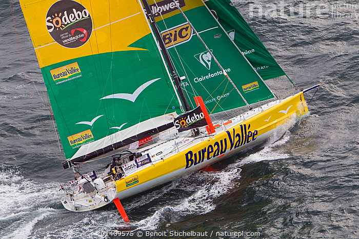 Aerial view of IMOCA 60 'Bureau Valle' skippered by Louis Burton starting the Vendee Globe from Les Sables d'Olonne, France, November 2012. All non-editorial uses must be cleared individually., AERIALS,BOATS,CIRCUMNAVIGATION,EUROPE,FRANCE,HEELING,MS,OPEN 60,RACES,SAILING BOATS,SOLO,YACHTS,SAILING-BOATS, Benoit Stichelbaut