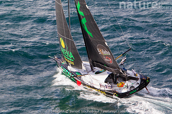 Aerial view of IMOCA 60 'Akena Veranda' skippered by Arnaud Boissieres starting the Vendee Globe from Les Sables d'Olonne, France, November 2012. All non-editorial uses must be cleared individually., AERIALS,BOATS,CHOPPY,CIRCUMNAVIGATION,EUROPE,FRANCE,MS,OPEN 60,RACES,SAILING BOATS,SOLO,YACHTS,SAILING-BOATS, Benoit Stichelbaut