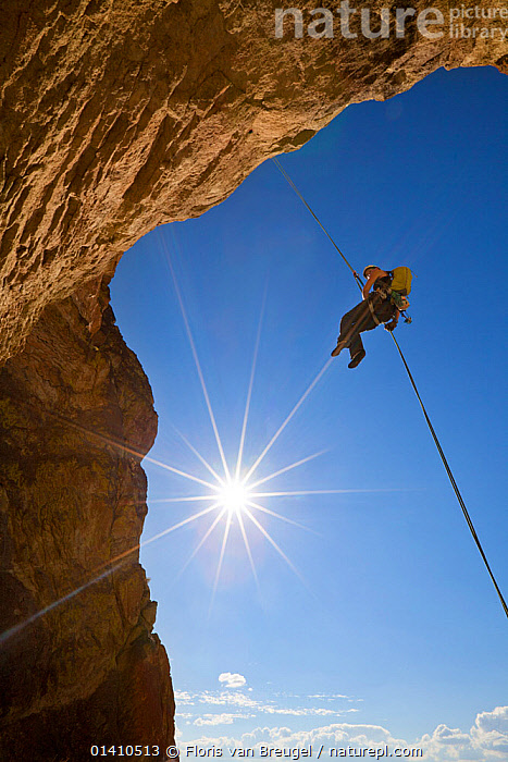 Woman rappels down from ascent of the climb 'Birds in a Rut' near Smith Rock, eastern Oregon, USA. September 2012. Model released, ABSEILING,ADVENTURE,CLIFFS,CLIMBING,LEISURE,NORTH AMERICA,OUTDOOR PURSUITS,PEOPLE,RAPPELLING,USA,VERTICAL,WOMAN,Geology, Floris van Breugel