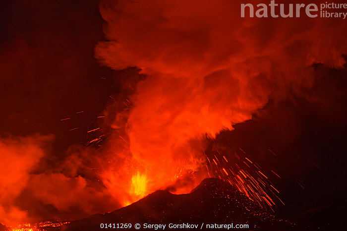 Ash and lava erupting from Plosky Tolbachik Volcano, Kamchatka Peninsula, Russia, 15 December 2012, ASH PLUME,ERUPTING,ERUPTION,ERUPTIONS,EUROPE,FIRE,GEOLOGY,LANDSCAPES,LAVA,MOUNTAINS,NIGHT,RED,RUSSIA,VOLCANOES, Sergey Gorshkov