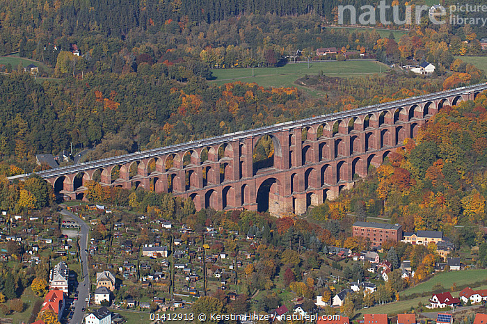 Goltzsch Viaduct, the largest brick bridge in the world, seen from the air. Northern Vogtland, Thuringia, Germany, October 2012., AERIALS,BRIDGES,BUILDINGS,EUROPE,GERMANY,LANDSCAPES,TOWNS,VIADUCTS, Kerstin Hinze