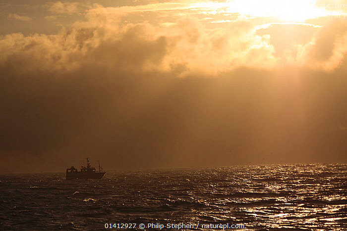 Wintery sky over trawler the North Sea, December 2012., ATMOSPHERIC,BOATS,EUROPE,FISHING BOATS,LANDSCAPES,LIGHT,NORTH SEA,PROFILE,SILHOUETTES,WORKING BOATS, Philip Stephen