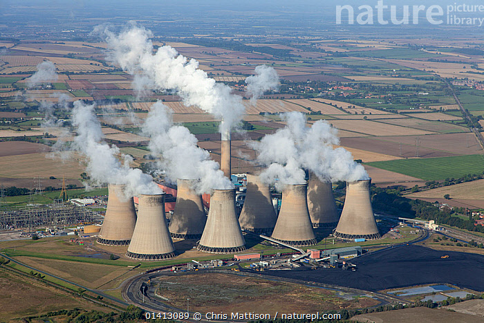 Aerial view of Cottam power station, near Retford, Nottinghamshire, owned by EDF Energy. This power station is coal-fired. October 2012., AERIALS,CHIMNEYS,CLOUDS,COAL FIRED,ENERGY,ENGLAND,ENVIROMENTAL,EUROPE,INDUSTRY,LANDSCAPES,POLLUTION,POWER,POWER STATIONS,RIVERS,ROADS,UK,Weather,United Kingdom, Chris Mattison