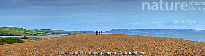 Fleet Lagoon at Abbotsbury and tourists walking on Chesil Beach tombolo, one of three major shingle structures in Britain along the Jurassic Coast, World Heritage Site, Dorset, UK, November 2012. No release available., background people,BEACHES,catalogue5,Chesiil beach,coastal,COASTAL WATERS,COASTS,Dorset,ENGLAND,EUROPE,Fleet Lagoon,Jurassic Coat,lagoon,LANDSCAPES,LEISURE,MARINE,outdoors,PANORAMIC,panoramic image,PEOPLE,sea,shingle,spit,three people,tourist,UK,UNESCO,WALKING,WINTER,world heritage,world heritage site,United Kingdom,,Dorset and East Devon Coast, UNESCO World Heritage Site,, Philippe Clement