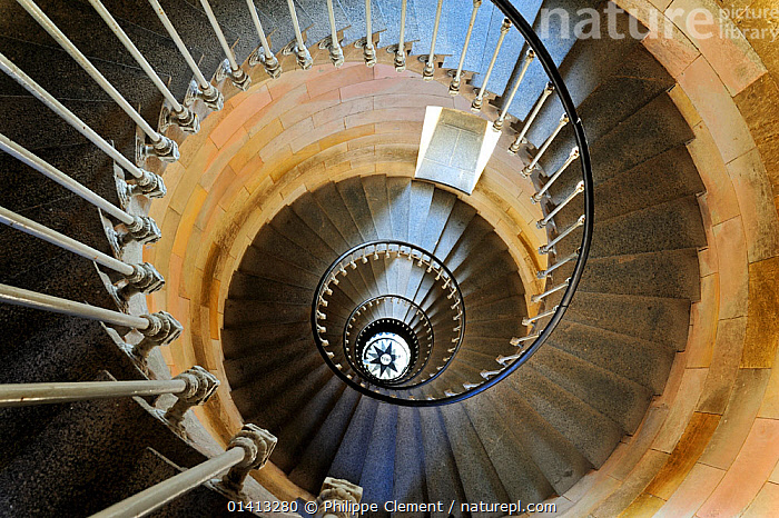 Looking up spiral staircase inside the lighthouse Phare des Baleines on the island Ile de Re, Charente-Maritime, France, September 2012, ABSTRACT,ARCHITECTURE,ARTY SHOTS,BUILDINGS,EUROPE,FRANCE,INDOORS,INTERIOR,LIGHTHOUSE,PATTERNS,SPIRAL,STAIRS, Philippe Clement