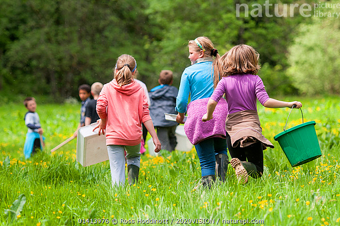 School children carrying equipment to release salmon fry in the River Haddeo and to do invertebrate kick samples with Westcountry Rivers Trust (WRT) warden. Bury, Exmoor National Park, Somerset, UK. May 2012. Editorial use only  ,  2020VISION,CHILDREN,CONSERVATION,EDUCATION,ENGLAND,EUROPE,FRESHWATER,GROUPS,NP,PEOPLE,RESEARCH,RESERVE,RIVER BANK,RIVERS,SAMPLES,SAMPLING,SCHOOLS,SCIENCE,SOMERSET,STREAMS,UK,WATER,National Park,United Kingdom,2020cc  ,  Ross Hoddinott / 2020VISION