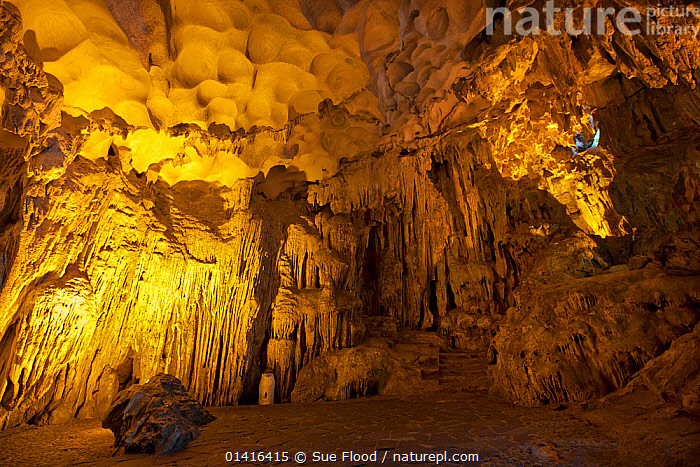 Inside floodlit Sung Sot Cave, Ha Long Bay, Vietnam.  ,  ASIA,ATTRACTION,CAVERNS,CAVES,GEOLOGY,INTERIOR,LANDSCAPES,LIMESTONE,ROCK FORMATIONS,SOUTH EAST ASIA,STALACTITES,TOURISM,UNDERGROUND,VIETNAM  ,  Sue Flood