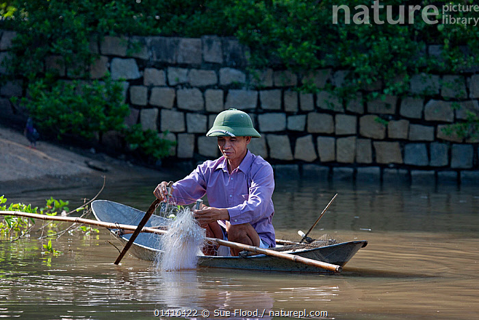 Man in tiny fishing boat with net, Phan Thiet, Vietnam.  ,  ASIA,BOATS,CULTURES,FISHING,HUNTING FOOD,LANDSCAPES,MALES,MAN,PEOPLE,SOUTH EAST ASIA,TRADITIONAL,VIETNAM,WATER,SOUTH-EAST-ASIA  ,  Sue Flood
