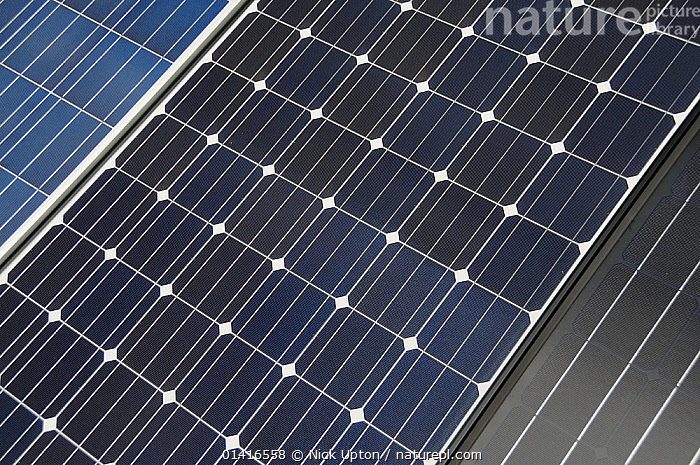 Close up view of three types of Photovoltaic panel, Wiltshire, UK.  ,  ABSTRACT,ELECTRICITY,ENERGY,ENGLAND,ENVIRONMENTAL,EUROPE,GREEN ENERGY,PANELS,POWER,RENEWABLE,SOLAR,SUNLIGHT,SUSTAINABLE,TECHNOLOGY  ,  Nick Upton