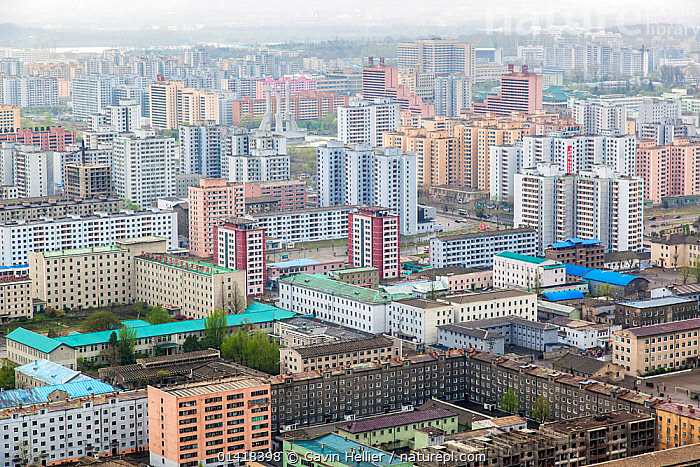 Elevated city skyline of Pyongyang, capital city, Democratic Peoples' Republic of Korea (DPRK), North Korea, 2012, AERIALS,architecture,ASIA,building exterior,BUILDINGS,built up,capital city,catalogue5,CITIES,cityscape,cityscapes,communism,CULTURES,dictatorship,DPRK,elevated view,full frame,HOMES,housing,KOREA,LANDSCAPES,Nobody,North Korea,outdoors,Pyongyang,SOUTH EAST ASIA,Travel,URBAN, Gavin Hellier