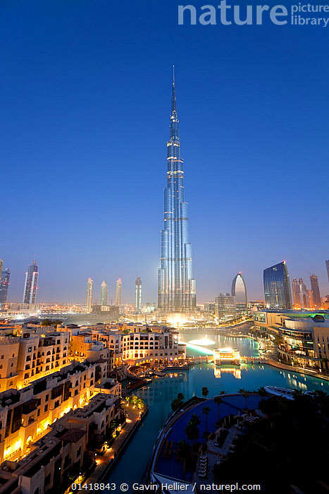 The Burj Khalifa at night, completed in 2010, the tallest man made structure in the world, Dubai, United Arab Emirates, 2011, ARABIA,ASIA,ATTRACTION,BUILDINGS,CITIES,DUBAI,DUSK,ILLUMINATED,LANDMARK,LANDSCAPES,LIGHTS,MIDDLE EAST,MODERN,NIGHT,SKYLINE,SKYSCRAPERS,TRAVEL,UAE,URBAN,VERTICAL, Gavin Hellier
