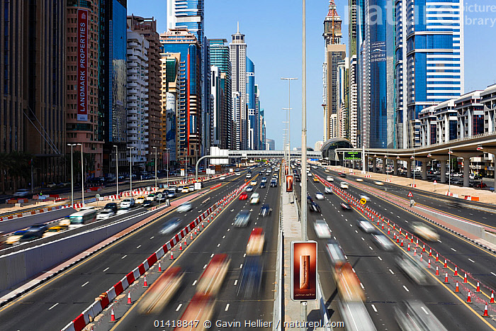Sheikh Zayed Rd, traffic and new high rise buildings along Dubai's main road, United Arab Emirates 2011. No release available., ARABIA,ASIA,BLURRED,BUILDINGS,BUSY,CARS,CITIES,DUBAI,LANDSCAPES,MIDDLE EAST,MODERN,MOTION,MOVEMENT,ROADS,SKYLINE,SKYSCRAPERS,STREETS,TRAFFIC,TRANSPORT,TRAVEL,UAE,URBAN,VEHICLES,Catalogue5, Gavin Hellier