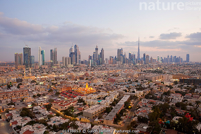 Elevated view of the new Dubai skyline of modern architecture and skyscrapers including the Burj Khalifa on Sheikh Zayed Road, Dubai, United Arab Emirates, 2011, AERIALS,ARABIA,ASIA,BUILDINGS,CITIES,DUBAI,LANDSCAPES,MIDDLE EAST,MODERN,SKYLINE,SKYSCRAPERS,TRAVEL,UAE,URBAN, Gavin Hellier