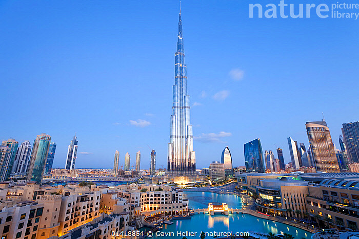 The Burj Khalifa at dusk, completed in 2010, the tallest man made structure in the world, Dubai, United Arab Emirates 2011, ARABIA,ASIA,ATTRACTION,BUILDINGS,CITIES,DUBAI,DUSK,EVENING,ICONIC,ILLUMINATED,LANDMARK,LANDSCAPES,LIGHTS,MIDDLE EAST,MODERN,SKYLINE,SKYSCRAPERS,TOWERS,TRAVEL,UAE,URBAN, Gavin Hellier