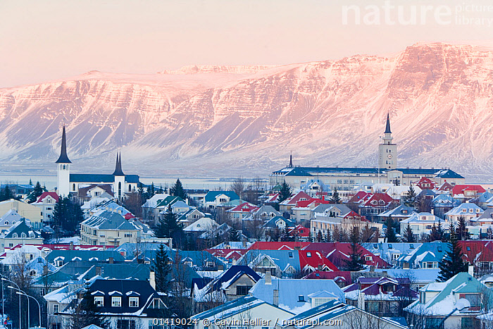 View over the Churches and cityscape of Reykjavik with a backdrop of snow capped mountains, Iceland 2006, BUILDINGS,CHURCHES,CITIES,CITYSCAPES,EUROPE,HOUSES,ICELAND,LANDSCAPES,MOUNTAINS,TRAVEL,URBAN,WINTER,Catalogue5, Gavin Hellier