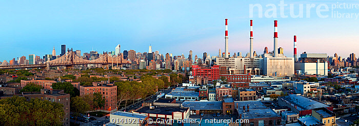 Panoramic view of Queensboro Bridge and Mid town Manhattan, New York City, USA 2009. No release available., BRIDGES,BUILDINGS,catalogue5,CITIES,cityscape,elevated view,industrial chimney,landmark,Mid town Manhattan,MODERN,New York City,Nobody,NORTH AMERICA,outdoors,PANORAMIC,panoramic image,power stations,Queensboro Bridge,skyline,skyscrapers,Travel,URBAN,USA, Gavin Hellier