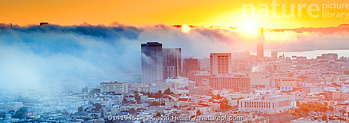 Panoramic view of the foggy skyline of San Francisco at sunrise, California, USA 2011, ATMOSPHERIC,bay,BUILDINGS,California,catalogue5,CITIES,cityscape,elevated view,environmental concern,Fog,Foggy,lens flare,misty,Morning,Nobody,NORTH AMERICA,outdoors,PACIFIC,PANORAMIC,panoramic image,San Francisco,skyline,SUN,sunlight,SUNRISE,Travel,travel destination,URBAN,USA, Gavin Hellier
