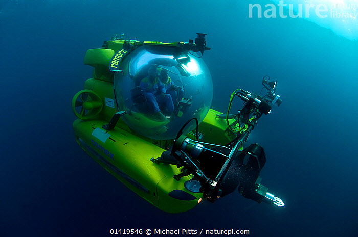Mike de Gruy, underwater camerman, in Remora submersible, Mediterranean  ,  catalogue6,SEA,People,Male,Man,Only Men,Camera Operators,Cameramen,Journey,Journeys,Voyages,Colour,Blue,Yellow,Single,Single Person,2 People,Two Person,Two Persons,Glass,Technology,Underwater,Saltwater,The Unknown,Cameraman,Sci fi,Submersible  ,  Michael Pitts