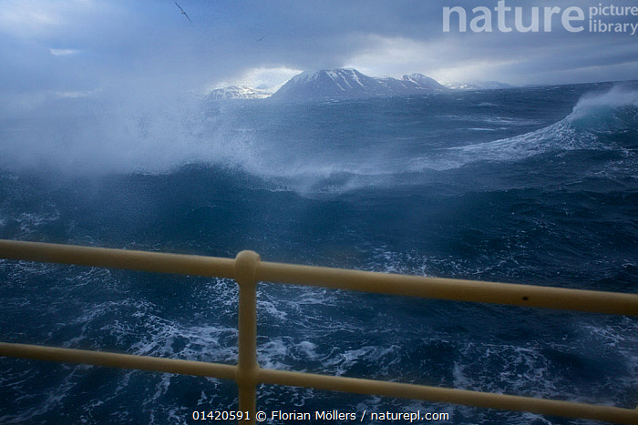 Arctic expedition cruiseship M/S Stockholm in heavy sea and gale winds at Sarkapp (South Cape), Svalbard, Norway, July 2012  ,  ABOARD,archipelago,ARCTIC,bad weather,bleak,BOATS,catalogue5,COASTAL WATERS,cruiseship,DANGEROUS,desolate,elevated view,EUROPE,expedition,EXTREME,GUARD RAILS,HEAVY SEAS,ICE BREAKERS,LANDSCAPES,MOUNTAINS,MS Stockholm,nature,Nobody,NORWAY,outdoors,POLAR,railings ,RAILS,Sarkapp ,SCANDINAVIA,Scenic,sea,ships,South Cape,spitsbergen,spitzbergen,STORMS,stormy,Svalbard,Travel,WEATHER,WIND,Windy,WINTER,WORKING BOATS  ,  Florian Möllers