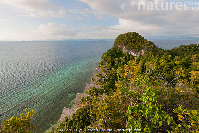 Clifftop view from Pulau Pef, Raja Ampat near Waigeo, Indonesia, February 2012, AERIALS,ASIA,CLIFFS,CLOUDS,COASTAL WATERS,COASTS,HIGH ANGLE SHOT,HORIZON,HORIZONS,INDONESIA,INDO PACIFIC,IRIAN JAYA,LANDSCAPES,OCEANS,SOUTH EAST ASIA,THE SEA,TRAVEL,WEST PAPUA,Geology,Weather,SOUTH-EAST-ASIA,NEW-GUINEA, Jurgen Freund