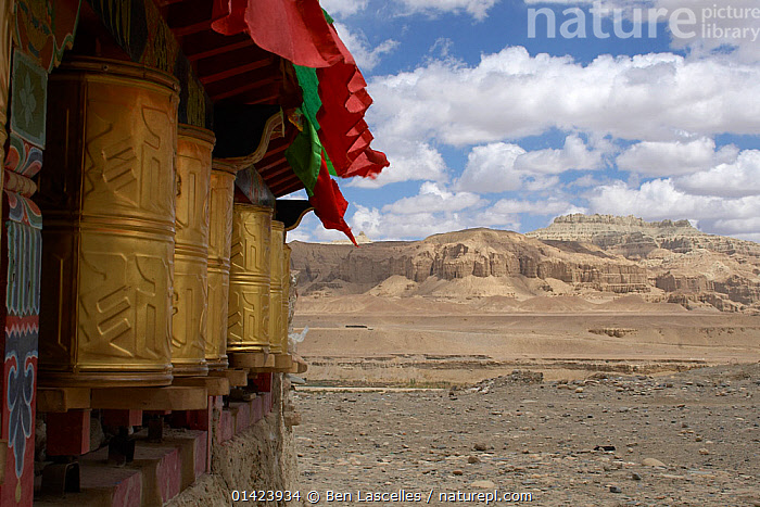 Nature Picture Library - Prayer wheels enscribed with 'Om