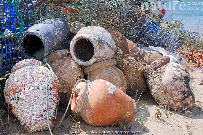 Stack of lobster pots and traditional ceramic Octopus pots encrusted with serpulid worm tubes and barnacles, Culatra island, Parque Natural da Ria Formosa, near Olhao, Algarve, Portugal, June.  ,  ARTIFACTS,EUROPE,FISHING,FISHING EQUIPMENT ,NP,PORTUGAL,POTS,TRADE,TRADITIONAL,TRAPPING,TRAPS,National Park  ,  Nick Upton