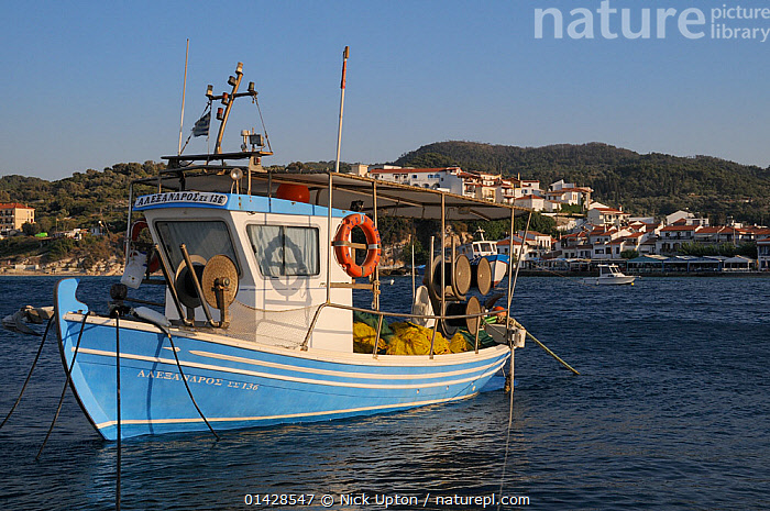 Fishing boat moored in Kokkari harbour. Samos, Greece, July, 2012.  ,  BOATS,BUILDINGS,COASTS,EUROPE,FISHING BOATS,GREECE,HARBOURS,LANDSCAPES,MEDITERRANEAN,SEASCAPES,TOWNS,WORKING BOATS  ,  Nick Upton