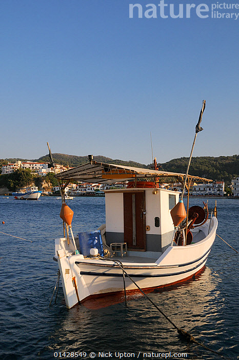 Fishing boat moored in Kokkari harbour. Samos, Greece, July.  ,  BUILDINGS,COASTS,EUROPE,FISHING BOATS,GREECE,LANDSCAPES,MEDITERRANEAN,MOORED,SEASCAPES,TOWNS,VERTICAL,WORKING BOATS  ,  Nick Upton