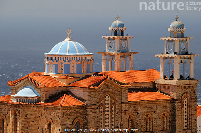 Overview of Marathokambos church with the Aegean sea in the background. Samos, Greece, August 2012.  ,  BLUE,BUILDINGS,CHURCHES,EUROPE,GREECE,LANDSCAPES,MEDITERRANEAN  ,  Nick Upton