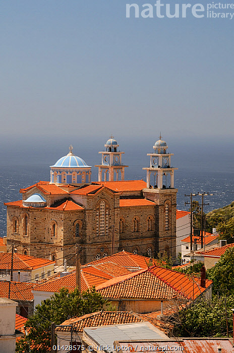 Overview of Marathokambos church with the Aegean sea in the background. Samos, Greece, July 2012.  ,  BUILDINGS,CHURCHES,EUROPE,GREECE,LANDSCAPES,MEDITERRANEAN,TOWNS,VERTICAL  ,  Nick Upton
