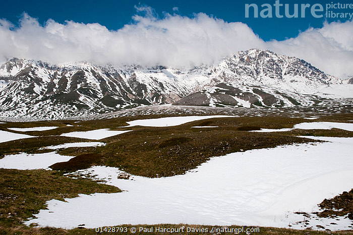 Campo Imperatore, in late spring as the snow melts, Gran Sasso, Appennines, Abruzzo, Italy, May 2011  ,  ALPINE,APPENNINE,CLOUDS,EUROPE,ITALY,LANDSCAPES,MOUNTAINS,SNOW,Weather,Apennines,Appennines,  ,  Paul Harcourt Davies