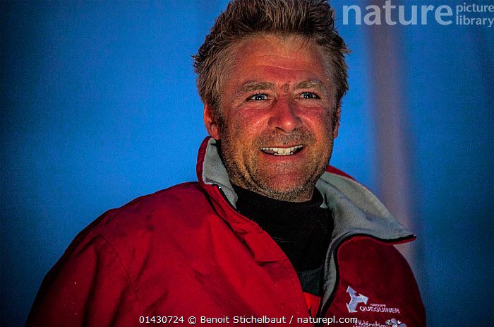 Skipper Yann Elies after winning la Solitaire du Figaro on board 'Groupe Queguiner-Leucemie Espoir'. Dieppe, France, June 22nd 2013. All non-editorial uses must be cleared individually.  ,  CREWS,EUROPE,FRANCE,MAN,NIGHT,PEOPLE,PORTRAITS,SKIPPER,SOLO,WINNER,WINNERS  ,  Benoit Stichelbaut