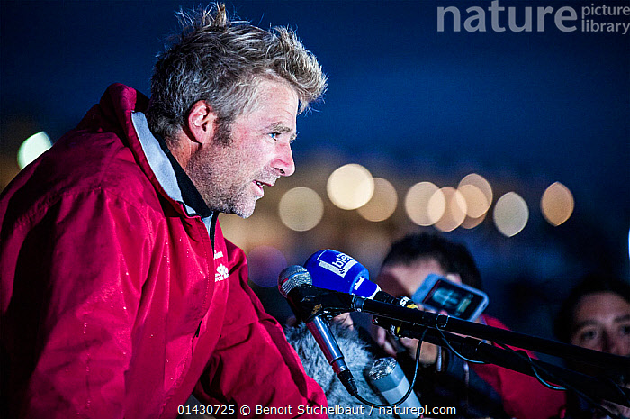 Skipper Yann Elies after winning la Solitaire du Figaro on board 'Groupe Queguiner-Leucemie Espoir'. Dieppe, France, June 22nd 2013. All non-editorial uses must be cleared individually., CREWS,EUROPE,FRANCE,INTERVIEW,INTERVIEWS,MAN,MEDIA,NIGHT,PEOPLE,PORTRAITS,SKIPPER,SOLO,SUCCESS,WINNER,WINNERS,WINNING, Benoit Stichelbaut