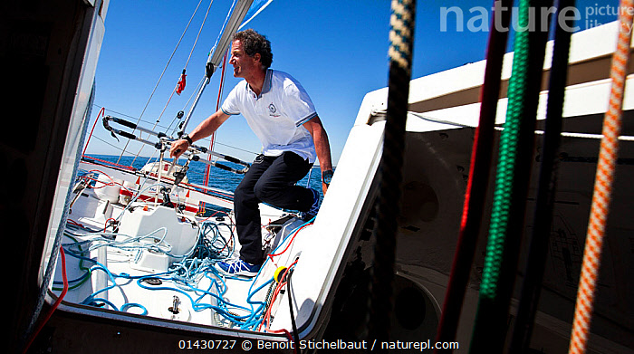 Skipper Michel Desjoyeaux on board Figaro 'TBS' ahead of la Solitaire du Figaro, Port la Foret, France, April 2013. All non-editorial uses must be cleared individually., ABOARD,AFTDECKS,BOATS,COCKPITS,EUROPE,FRANCE,HATCHES,HELMING,MAN,PEOPLE,PROCEDURES,RACES,ROPES,SAILING BOATS,SKIPPER,SOLO,TILLERS,YACHTS,BOAT-PARTS,CREWS, Benoit Stichelbaut