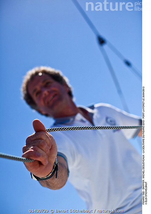 Skipper Michel Desjoyeaux on board Figaro 'TBS' ahead of la Solitaire du Figaro, Port la Foret, France, April 2013. All non-editorial uses must be cleared individually., ABOARD,BOATS,CREWS,EUROPE,FRANCE,HANDS,LOW ANGLE SHOT,MAN,PEOPLE,PROCEDURES,RACES,ROPES,SAILING BOATS,SKIPPER,SOLO,VERTICAL,YACHTS,BOAT-PARTS, Benoit Stichelbaut