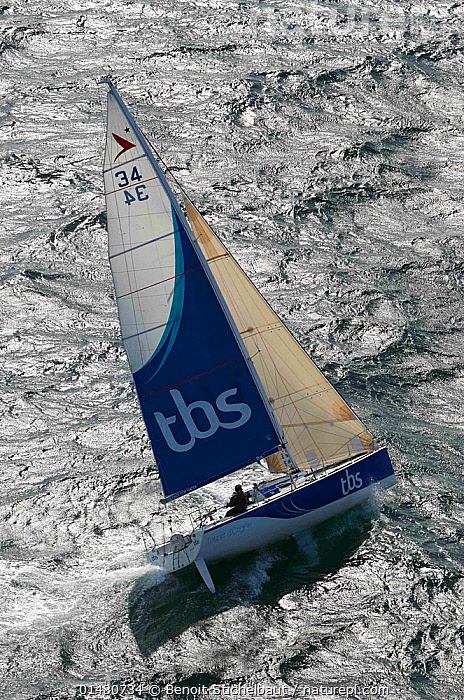Aerial view of Figaro 'TBS' skippered by Michel Desjoyeaux in training for la Solitaire du Figaro, Port la Foret, France, April 2013. All non-editorial uses must be cleared individually., AERIALS,BOATS,CHOPPY,CREWS,EUROPE,FORESAILS,FRANCE,HEELING,MAINSAILS,MAN,PEOPLE,RACES,RIPPLES,SAILING BOATS,SAILS,SKIPPER,SOLO,TACKING,VERTICAL,WAKE,WIND,YACHTS,MANOEUVRES,Weather, Benoit Stichelbaut