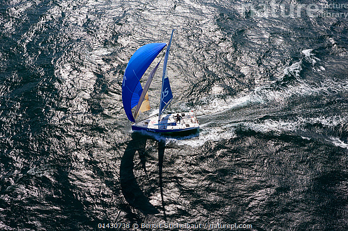 Aerial view of Figaro 'TBS' skippered by Michel Desjoyeaux in training for la Solitaire du Figaro, Port la Foret, France, April 2013. All non-editorial uses must be cleared individually., AERIALS,ALONE,ATMOSPHERIC,BOATS,CREWS,ESCAPISM,EUROPE,FORESAILS,FRANCE,FREEDOM,LANDSCAPES,MAINSAILS,MAN,PEOPLE,PROFILE,RACES,RIPPLES,SAILING BOATS,SAILS,SHADOW,SHADOWS,SKIPPER,SOLO,SPINNAKERS,YACHTS,CONCEPTS, Benoit Stichelbaut