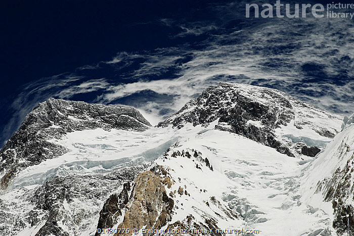 View looking up to the summit of Broad Peak (8,047m), Central Karakoram National Park, Pakistan, June 2007., ASIA,ATMOSPHERIC,CLOUDS,HIMALAYA,HIMALAYAS,INDIAN SUBCONTINENT,KARAKORAM,LANDSCAPES,MOUNTAINS,NP,PEAK,PEAKS,RESERVE,SNOW,SUMMITS,UPLANDS,Weather,National Park, Enrique Lopez-Tapia