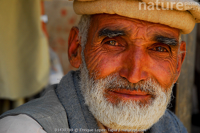 Portrait of a Balti man, Skardu, Pakistan, July 2007., ASIA,ASIAN ETHNICITY,BEARD,ELDERLY,HAT,INDIAN SUBCONTINENT,INDOORS,LOOKING AT CAMERA,MAN,PEOPLE,PORTRAITS, Enrique Lopez-Tapia