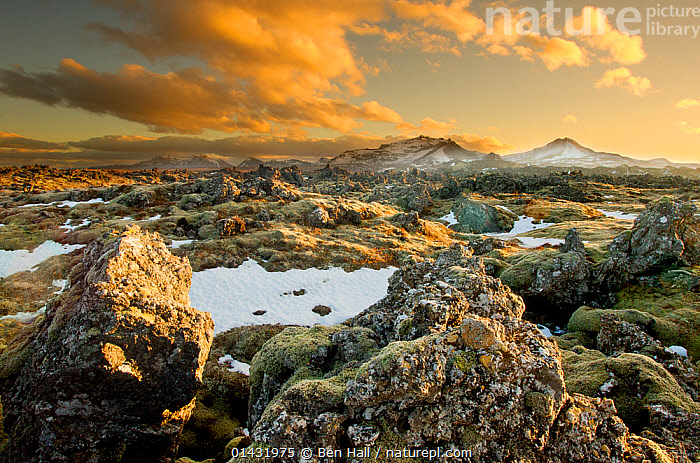 View looking out over lava field at dusk with mountains in the background, West Icelend, January 2013  ,  CLOUDS,EUROPE,GEOLOGY,ICELAND,LANDSCAPES,MOUNTAINS,ROCK FORMATIONS,SNOW,SUNSET,WINTER,Weather  ,  Ben Hall