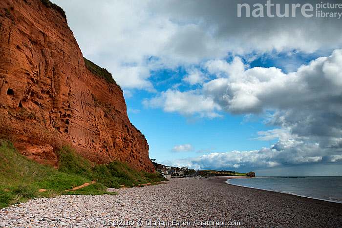 Triassic age cliffs of Otter Sandstone and pebble beach, Jurassic Coast, Budleigh Salterton, Devon, March 2012  ,  ENGLAND,GEOLOGY,LANDSCAPES,PEBBLES,UK,BEACHES,CLIFFS,CLOUDS,COASTS,EUROPE,ROCK FORMATIONS,Weather,United Kingdom  ,  Graham Eaton