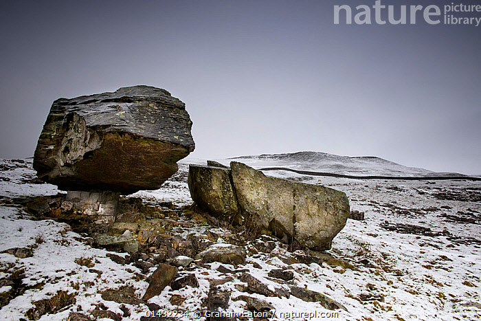 The Norber Erratics. Blocks of older Silurian sandstone, perched on top of younger Carboniferous limestone, that were left by retreating ice at the end of the last Ice Age, Clapham, Yorkshire, winter  ,  EUROPE,ROCKS,ENGLAND,GEOLOGY,LANDSCAPES,SNOW,UK,WINTER,United Kingdom,Erratics,Glaciation,Glacial Deposition, Geology, Rock Formations,  ,  Graham Eaton