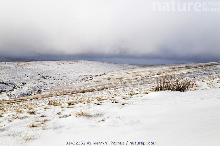 View over the Brecon Beacons in winter, Brecon Beacons National Park, Powys, Wales, February 2012.  ,  CLOUDS,COLD,EUROPE,UPLANDS,WALES,LANDSCAPES,NP,RESERVE,SNOW,UK,WINTER,Weather,National Park,United Kingdom  ,  Merryn Thomas