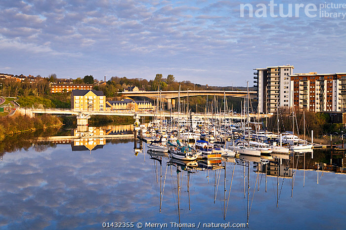 Penarth Marina, Cardiff, Wales, April 2012.  ,  BUILDINGS,CALM,CITIES,LANDSCAPES,UK,URBAN,BOATS,DAWN,EUROPE,HARBOURS,MARINAS,MIXED BOATS,MOORED,REFLECTIONS,WALES,United Kingdom  ,  Merryn Thomas