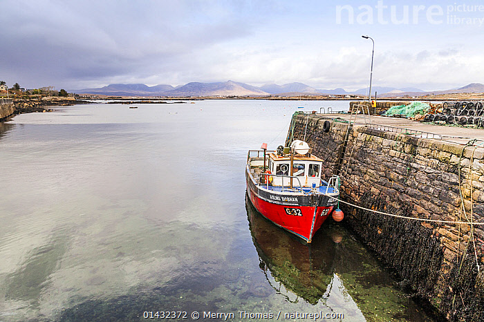 View over Roundstone Harbour, with fishing boat moored to the quay, Connemara, Republic of Ireland, March 2013.  ,  BOATS,COASTS,EIRE,EUROPE,HARBOURS,MOORED,QUAYS,WORKING BOATS,FISHING BOATS,MOUNTAINS  ,  Merryn Thomas