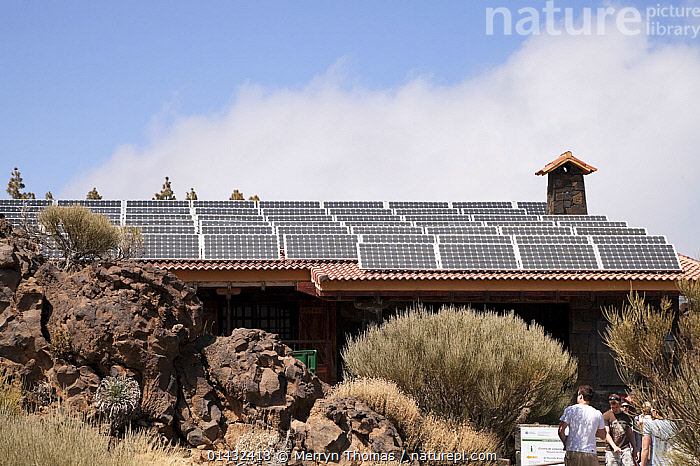 Solar panels on the roof of the Teide National Park field centre, Tenerife, Canary Islands, Spain, April 2012.  ,  ATLANTIC ISLANDS,ENVIRONMENTAL,EUROPE,SPAIN,WORLD HERITAGE SITE,BUILDINGS,CANARY ISLANDS,ENERGY,NP,RESERVE,UNESCO,WORLD HERITAGE SITES,National Park  ,  Merryn Thomas