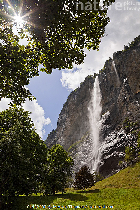 Staubbach Falls, Lauterbrunnen, Bernese Oberland, Switzerland, June 2012. (This image may be licensed either as rights managed or royalty free.)  ,  ALPINE,ALPS,LANDSCAPES,MOUNTAINS,SUN,EUROPE,SUMMER,UPLANDS,VERTICAL,WATERFALLS,RF, royalty free, RF3,,RF3,,RF,  ,  Merryn Thomas