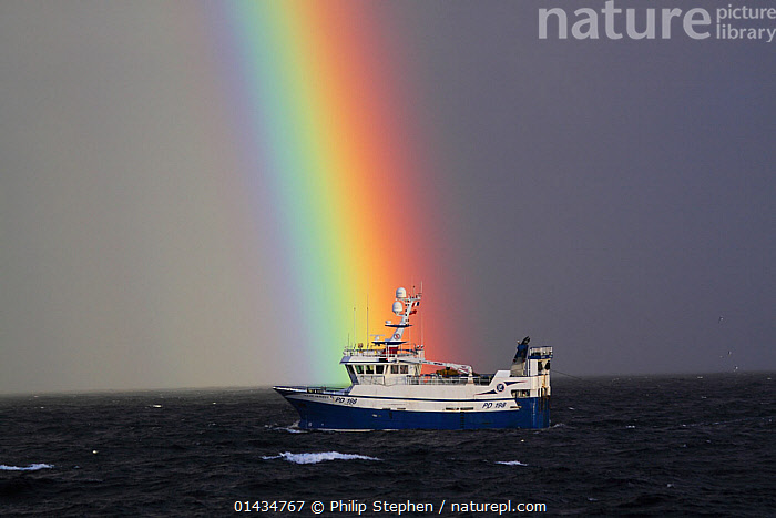 North Sea trawler 'Ocean Harvest' with rainbow, North Sea, May 2013. All non editorial uses must be cleared individually.  ,  BOATS,EUROPE,FISHING,FISHING BOATS,NORTH SEA,PROFILE,RAINBOWS,TRAWLERS,WORKING BOATS,Weather,WORKING-BOATS  ,  Philip Stephen
