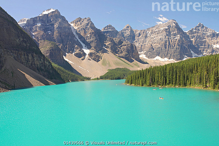 Glacially-fed Moraine Lake, Alberta, Canada  ,  CANADA,FORESTS,GLACIAL FEATURES,GLACIERS,LAKES,LANDSCAPES,MOUNTAINS,NORTH AMERICA,ROCKIES,ROCKY MOUNTAINS,Geology  ,  Visuals Unlimited