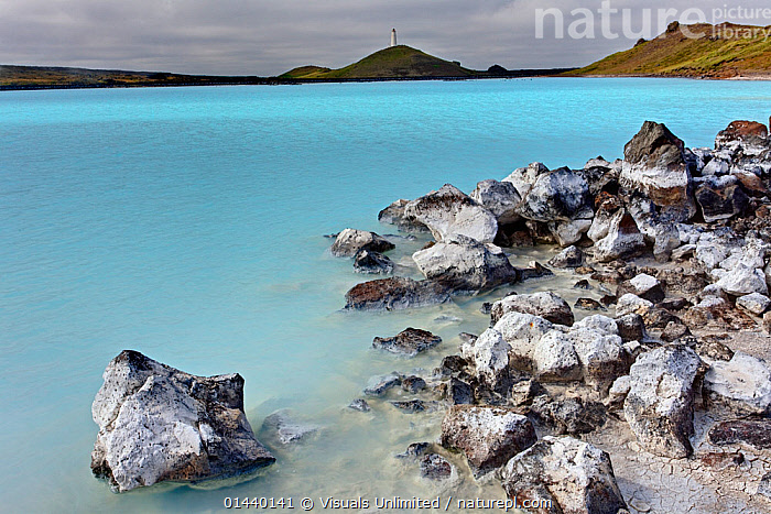 Blue Lagoon, mineral enriched lagoon famous with tourists, Iceland  ,  BLUE,EUROPE,GEOLOGY,GEOTHERMAL,ICELAND,LAGOONS,LAKES,LANDSCAPES,MINERALS,ROCKS,SHORE,WATER  ,  Visuals Unlimited